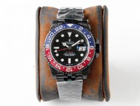 GS劳力士复刻表男款黑盘钢带红蓝圈格林尼治GMT机械手表