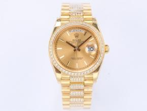 EW顶级复刻手表劳力士男款金盘金钢带星期日志型自动机械手表