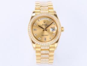 EW顶级复刻手表劳力士男款金盘金带自动机械星期日志型手表
