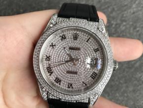 顶级复刻手表劳力士男款灰盘黑带日志系列满天星自动机械鳄鱼皮带手表
