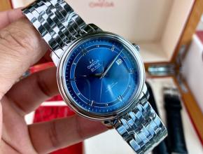 顶级原单手表欧米茄男款蓝盘钢带蝶飞系列机械手表