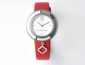 梵克雅宝女款白盘红带Charms Gold腕表石英皮带手表