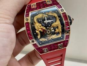 理查德米勒复刻手表女款黑盘红橡胶带龙凤系列18K玫瑰金真金真钻机械手表
