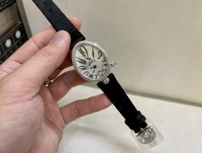 zf厂宝玑一比一手表女款白盘黑带那不勒斯王后系列18K白金真金真钻手表