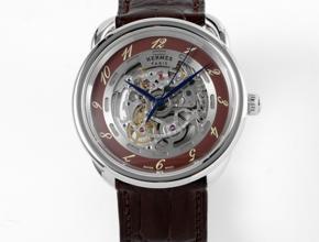 顶级复刻手表爱马仕男款灰盘棕带自动机械皮带腕表