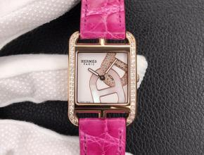 YF顶级复刻手表爱马仕女款白盘粉带石英皮带腕表