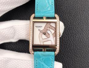 YF顶级复刻手表爱马仕V白盘蓝带女款皮带石英腕表