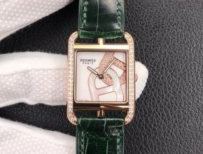 YF顶级复刻手表爱马仕白盘绿带鳄鱼皮带石英腕表