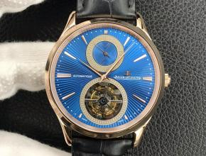 顶级复刻手表积家男款蓝盘黑带陀飞轮大师系列自动机械腕表