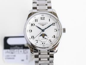 GF顶级复刻手表浪琴男款白盘钢带名匠系列月相42mm机械腕表