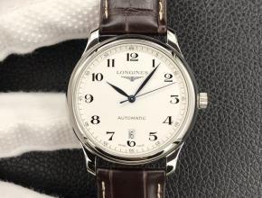 MK顶级复刻手表浪琴男款白盘棕带名匠系列自动机械皮带腕表