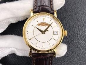 ZF顶级复刻手表百达翡丽男款白盘棕带自动机械古典5153系列皮带腕表