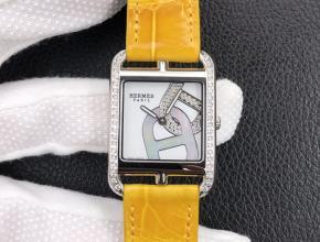 YF顶级复刻手表爱马仕白盘黄带石英皮带女款腕表
