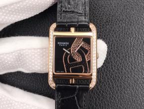YF顶级复刻手表爱马仕黑盘黑带石英鳄鱼皮带腕表