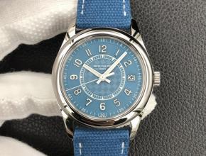 3K顶级复刻手表百达翡丽男款蓝盘蓝带6007系列机械尼龙带腕表