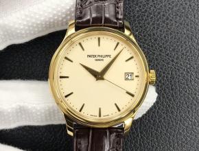 3k厂顶级复刻手表百达翡丽男款黄盘棕带自动机械复古腕表