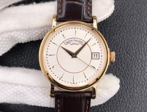 ZF顶级复刻手表百达翡丽古典5153系列白盘棕带机械皮带男款腕表