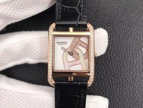 YF顶级复刻手表爱马仕女款白盘黑带方形精钢石英皮带腕表