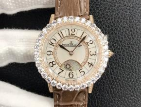 GF顶级复刻手表积家女款白盘棕带约会系列机械皮带腕表