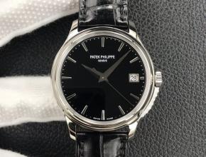 3k厂顶级复刻手表百达翡丽男款黑盘黑带自动机械皮带腕表