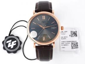 ZF顶级复刻手表万国黑盘棕带柏涛菲诺系列皮带自动机械腕表