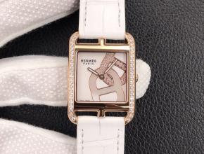 YF顶级复刻手表爱马仕女款 白盘白带皮带石英腕表