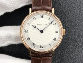 顶级复刻手表宝玑经典系列机械皮带男款白盘棕带腕表