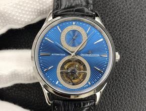 顶级复刻手表积家蓝盘黑带全自动真陀飞轮机械大师系列皮带腕表