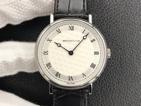 顶级复刻手表宝玑男款经典系列白盘黑带机械皮带腕表