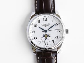 GF顶级复刻手表浪琴男款白盘棕带自动机械名匠系列皮带腕表