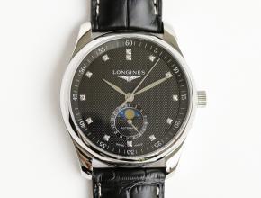 GF 顶级复刻手表浪琴月相42mm男款黑盘黑带自动机械皮带腕表