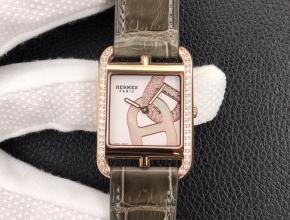 YF顶级复刻手表爱马仕女款白盘棕带方形精钢皮带石英腕表