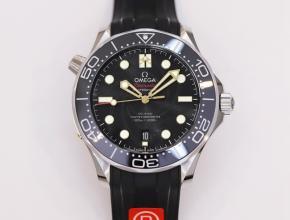 OR顶级复刻手表欧米茄黑盘橡胶带海马系列42mm腕表