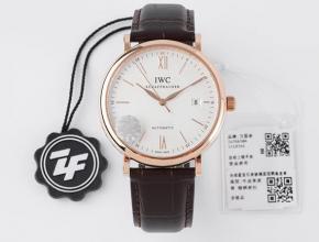ZF顶级复刻手表万国柏涛菲诺系列白盘黑带自动机械皮带腕表