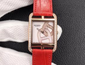 YF顶级复刻手表爱马仕白盘红带最新鳄鱼皮带石英腕表