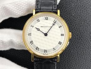 顶级复刻手表宝玑男款白盘黑带经典系列自动机械皮带腕表