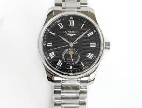 GF顶级复刻手表浪琴月相42mm名匠系列男款黑盘钢带机械腕表