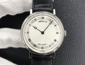 顶级复刻手表宝玑男款白盘黑带经典系列机械皮带腕表