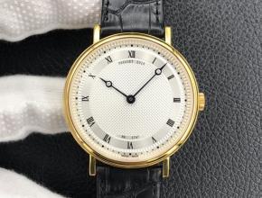 顶级复刻手表宝玑男款白盘黑带自动机械皮带经典系列腕表
