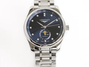GF顶级复刻手表浪琴自动机械男款蓝盘名匠系列月相钢带腕表