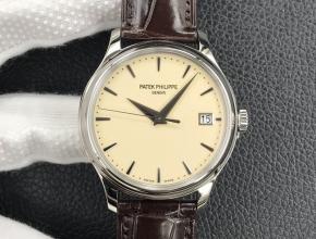 3k厂顶级复刻手表百达翡丽黄盘棕带自动机械男款皮带腕表