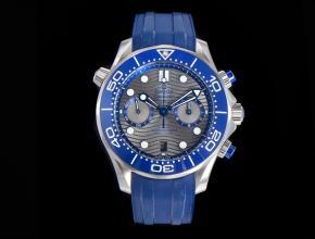 OM复刻手表欧米茄男士灰盘蓝橡胶带全新海马300计时手表