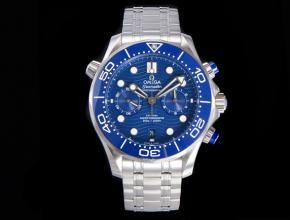 OM复刻手表欧米茄男装44mm海马300米蓝盘钢带计时手表