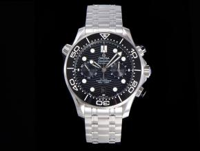 OM复刻手表欧米茄男士黑盘钢带全新海马300米44mm计时手表