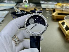 复刻手表梵克雅宝女款白盘蓝带真金真钻皮带手表