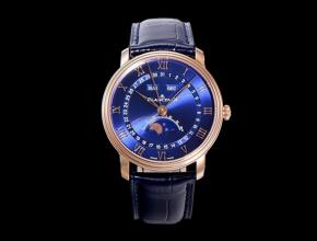 OM宝珀复刻手表男款蓝盘蓝带villeret 经典6654 全新V3升级皮带手表