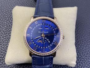 OM复刻手表宝珀villeret 经典系列男装蓝盘蓝带手表