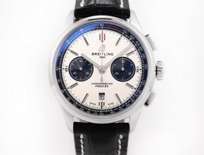GF复刻手表百年灵璞雅B01计时男款白盘黑带v2升级版自动机械皮带手表