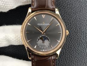 GF复刻手表积家自动机械男士黑盘棕带大师系列皮带手表
