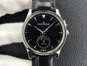 GF复刻手表积家男款黑盘黑带大师系列自动机械皮带手表